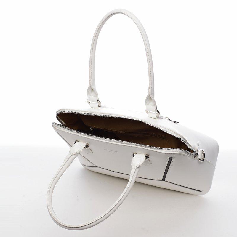 Pevná dámská koženková kabelka Gabin bílá