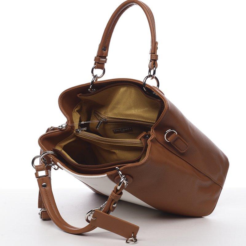 Dámská koženková kabelka ze sportovním nádechem Lucile koňaková