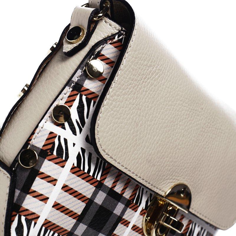 Originální crossbody kabelka s klopou Teresa, bílá vzorovná