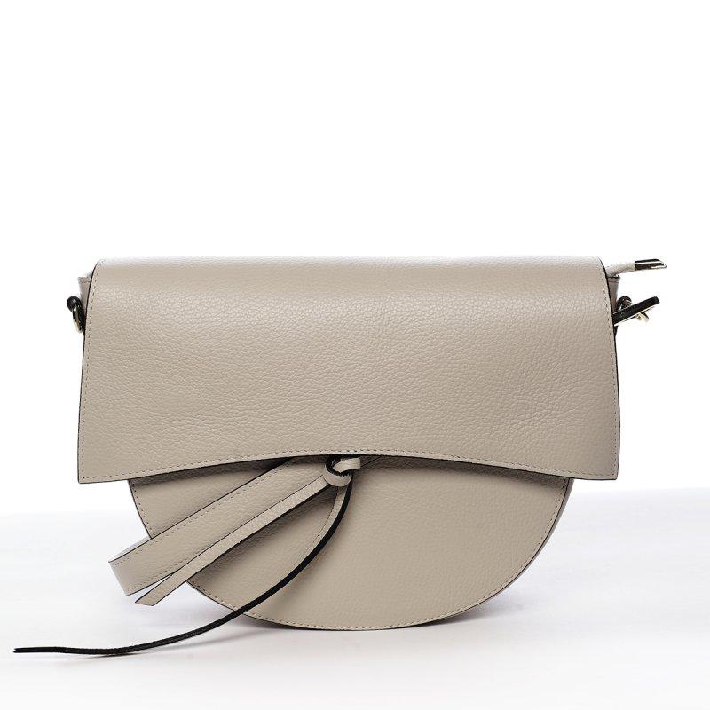 Kožená moderní crossbody kabelka Yara, béžová