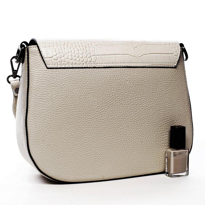 Crossbody kabelka z kůže krokodýlí vzor, béžová