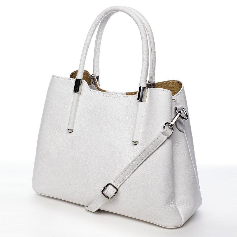 Business kožená kabelka  Encarnición, bílá