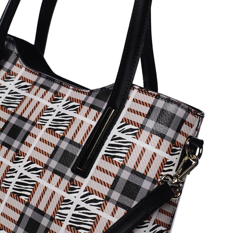 Stylová kožená kabelka se vzory Amalia, černá