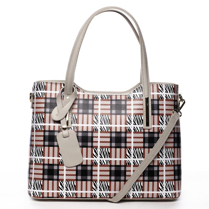 Stylová kožená kabelka se vzory Amalia, béžová