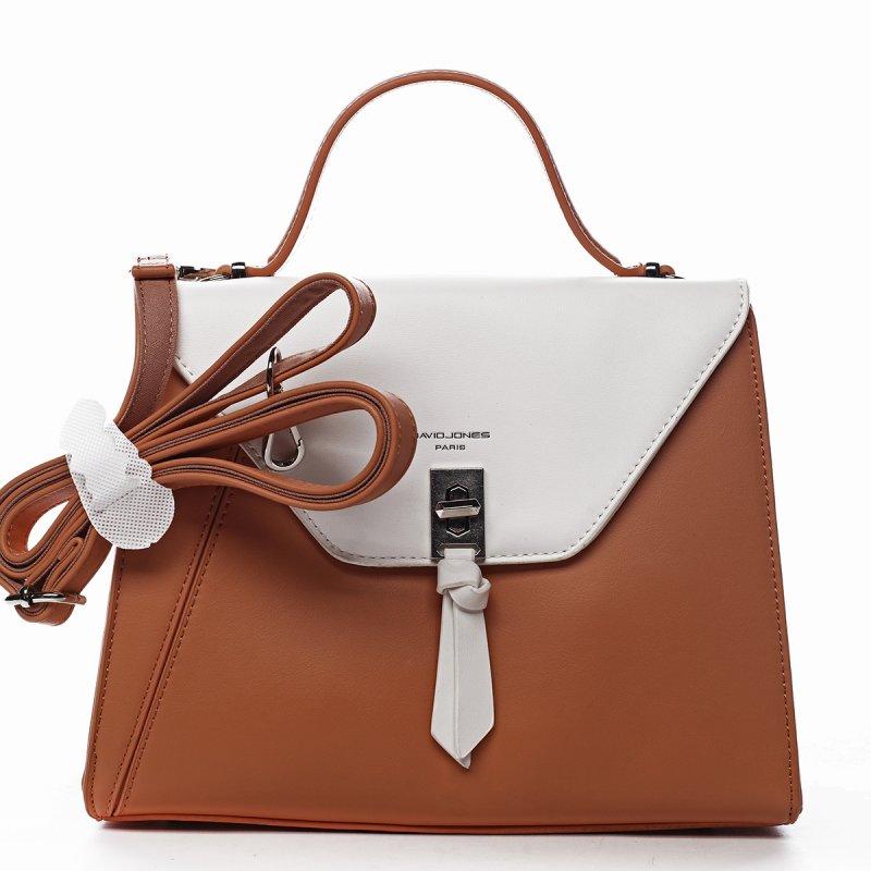 Krásná dámská koženková kabelka do ruky Léa oranžová/bílá