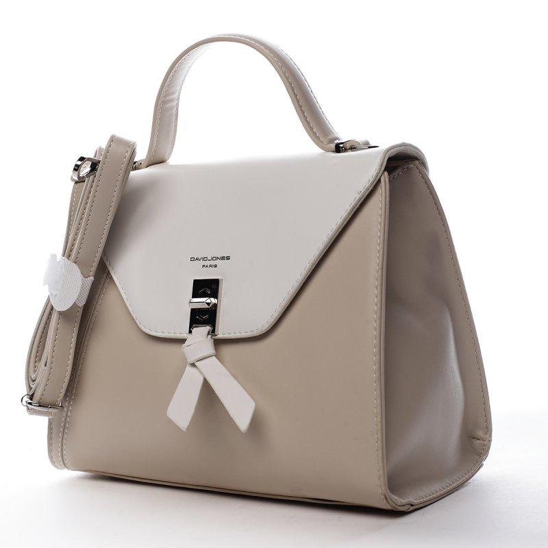 Krásná dámská koženková kabelka do ruky Léa béžová/bílá