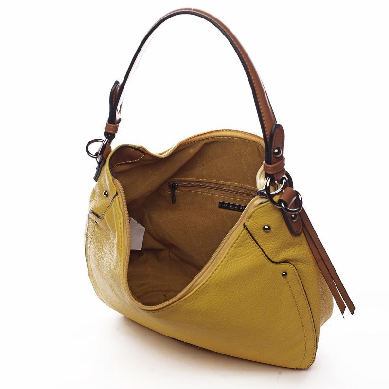 Módní dámská koženková kabelka Sandrine žlutá