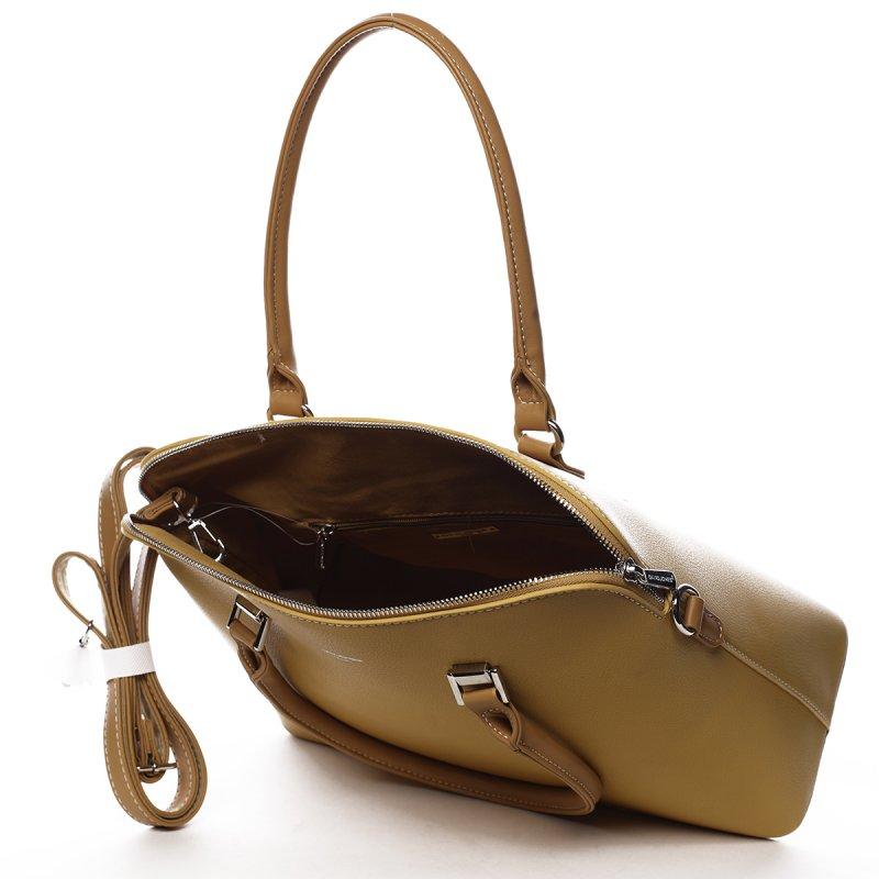 Elegantní pevná dámská kabelka Maria, žlutá