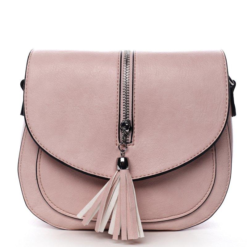 Stylová crossbody kabelka s třásněmi Federica, růžová