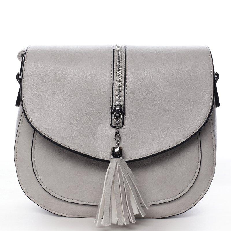 Stylová crossbody kabelka s třásněmi Federica, šedá