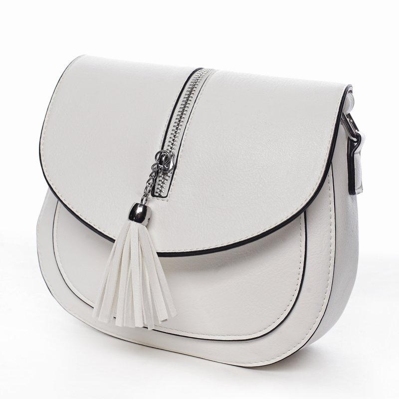Stylová crossbody kabelka s třásněmi Federica, bílá