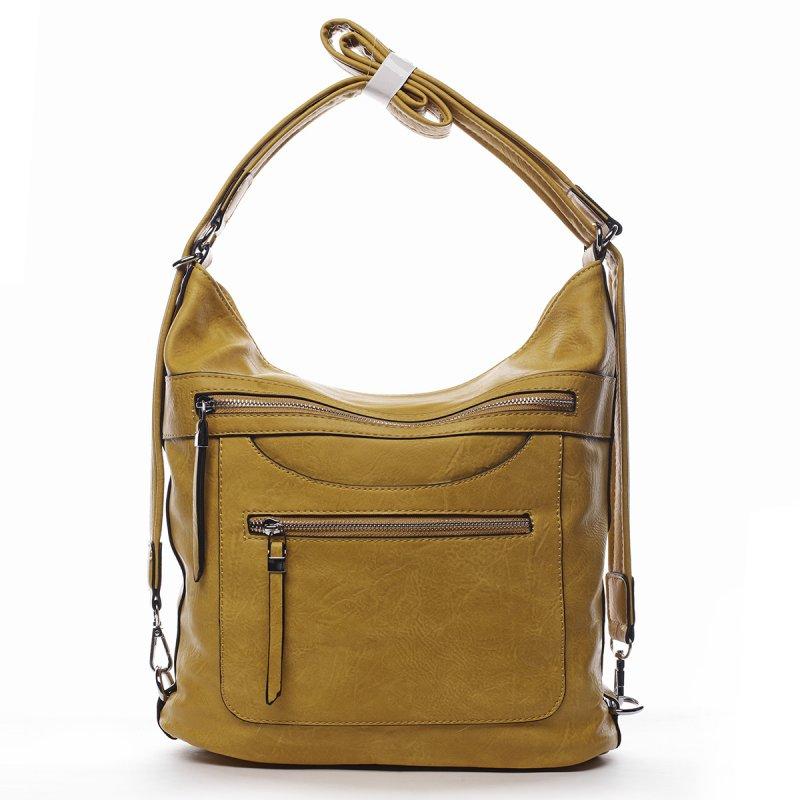 Pohodlná dámská koženková kabelka/batoh Fidéle žlutá