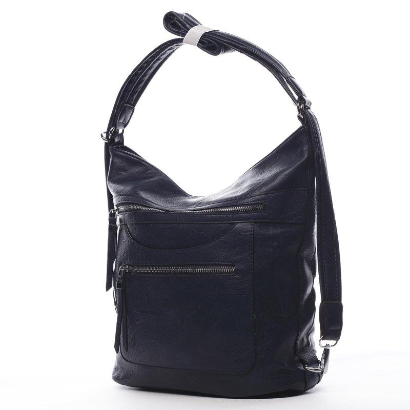Pohodlná dámská koženková kabelka/batoh Fidéle modrá