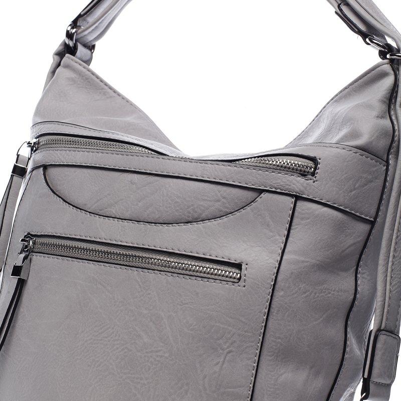 Pohodlná dámská koženková kabelka/batoh Fidéle šedá