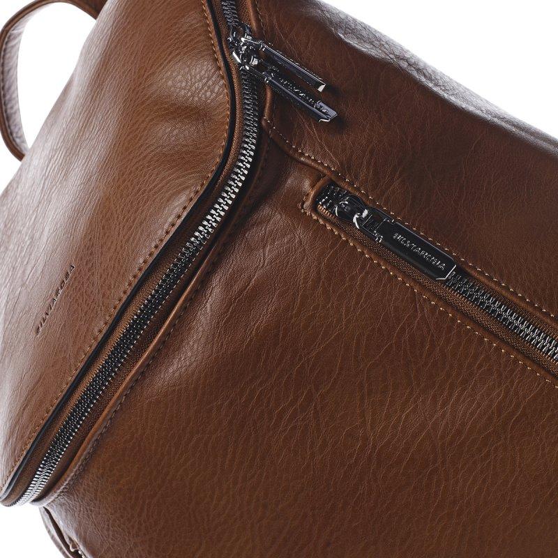 Módní městský koženkový batůžek Marc hnědá