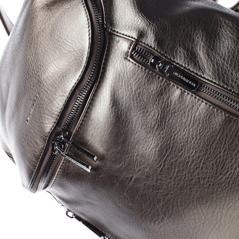 Módní městský koženkový batůžek Marc stříbrná