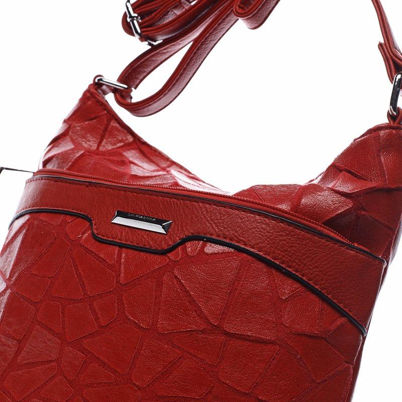 Zajímavá dámská koženková crossbody Alida červená