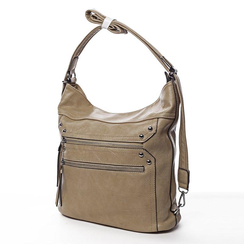 Prostorná dámská koženková kabelka/batoh Tamara zemitá