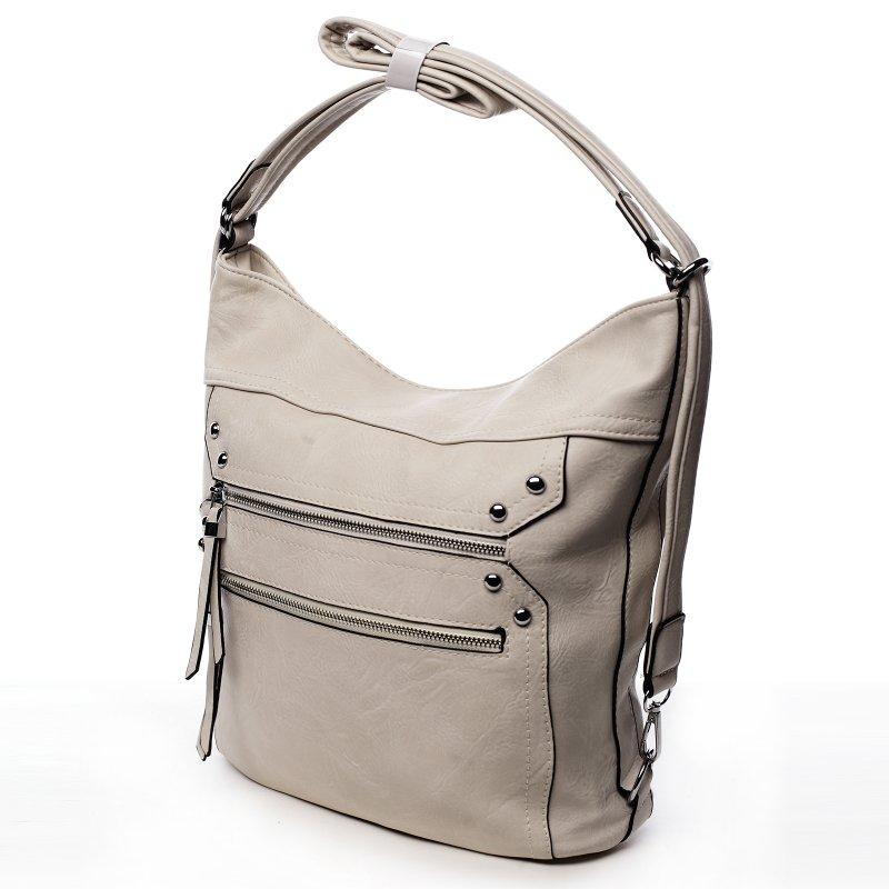 Prostorná dámská koženková kabelka/batoh Tamara béžová