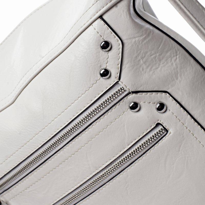 Prostorná dámská koženková kabelka/batoh Tamara bílá