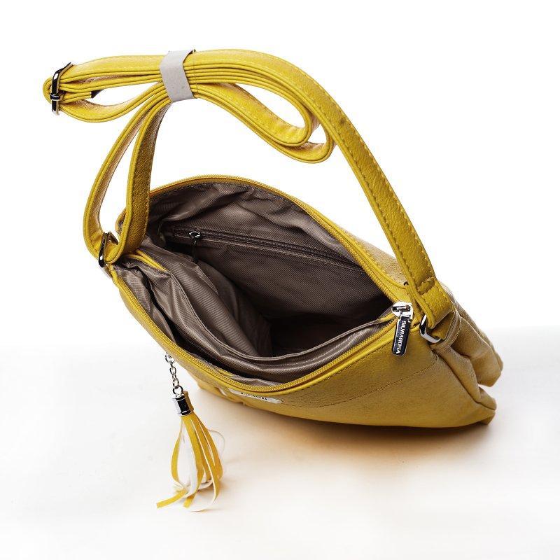 Praktická dámská koženková crossbody Ewen žlutá