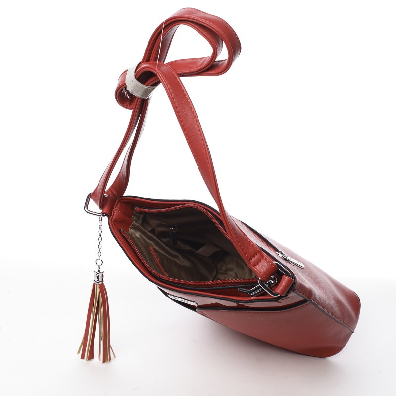 Kombinovaná dámská koženková crossbody Sylvian red