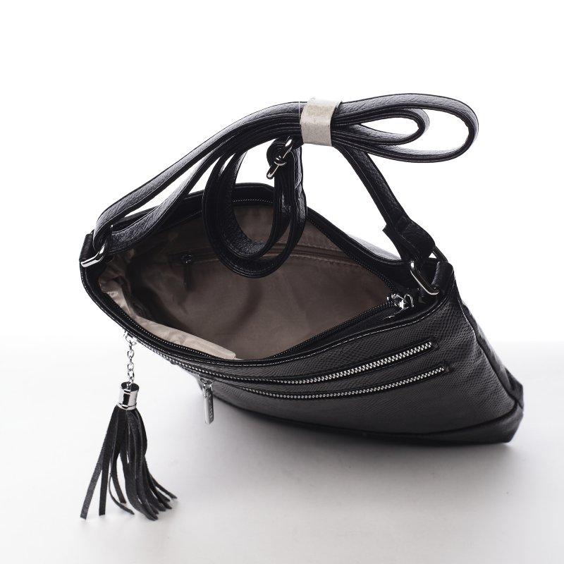 Dámská koženková crossbody s jemným vzorkem Marien černá