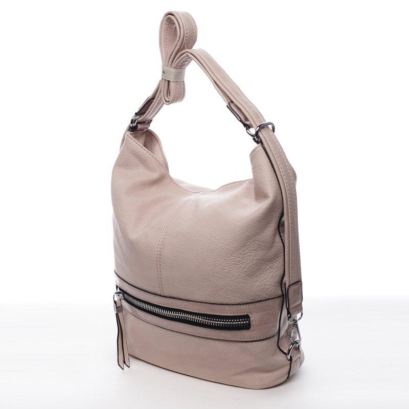 Praktická dámská koženková taška/batoh Hervé růžová