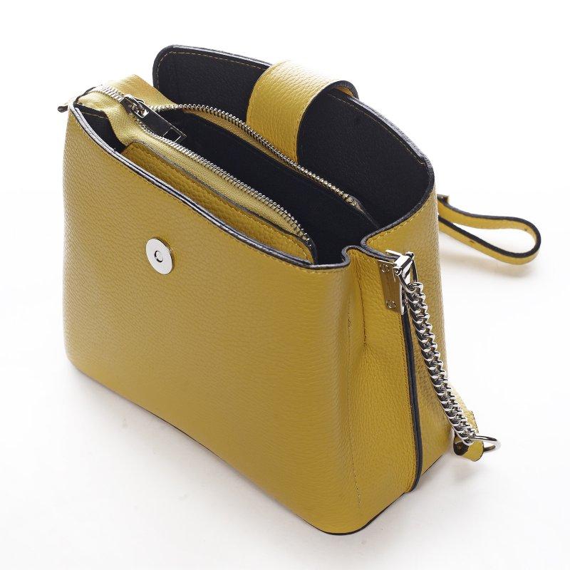 Nepřehlédnutelná dámská kožená kabelka Margot žlutá