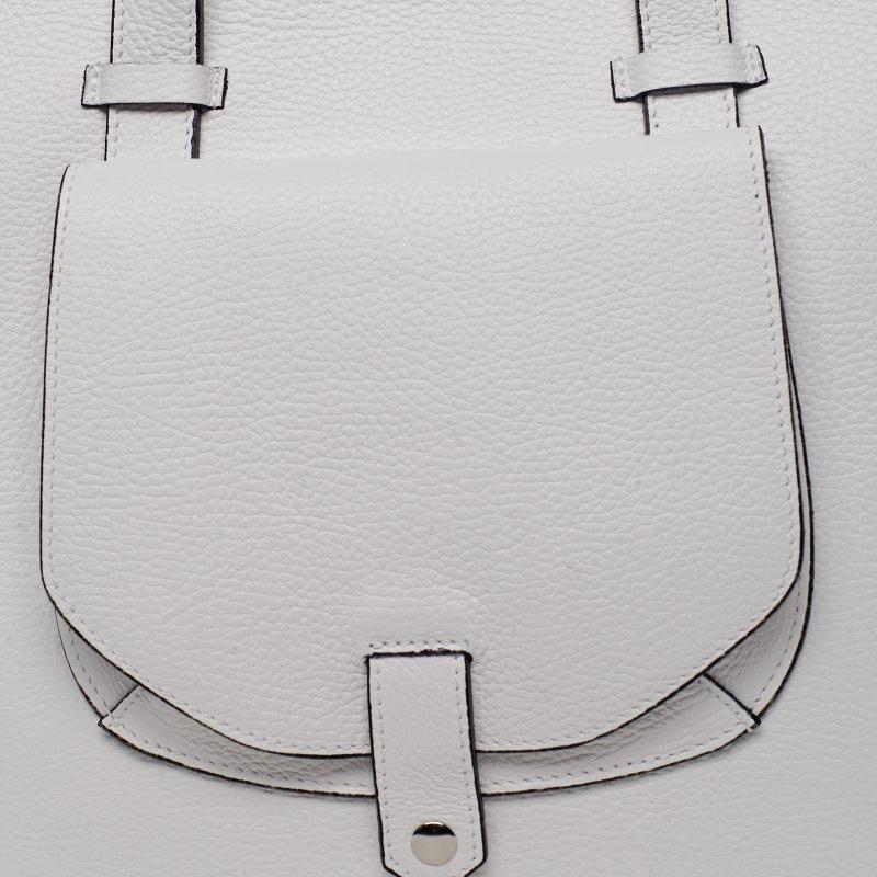 Trendy kožená kabelka přes rameno GENEVIEVE, bílá