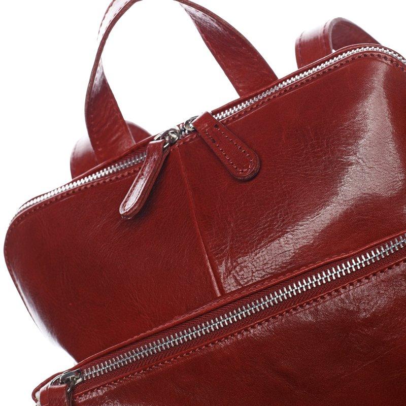 Větší pohodlný kožený batoh Goulwen červená