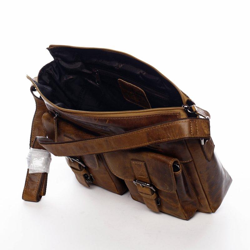 Módní pánská kožená taška Nolwen Green Wood