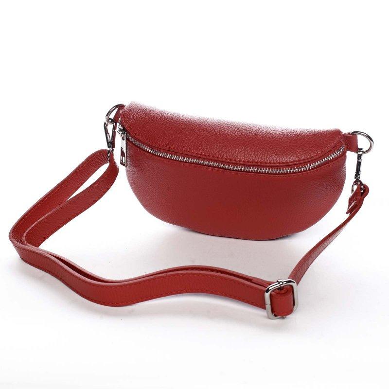 Stylová dámská kožená ledvinka Benoit červená