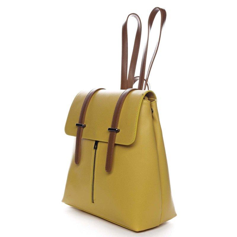 Elegantní dámský kožený batůžek Donald žlutá/hnědá