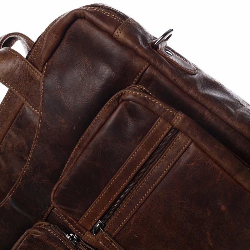 Pánská kožená pracovní taška Géraldine Green Wood hnědá