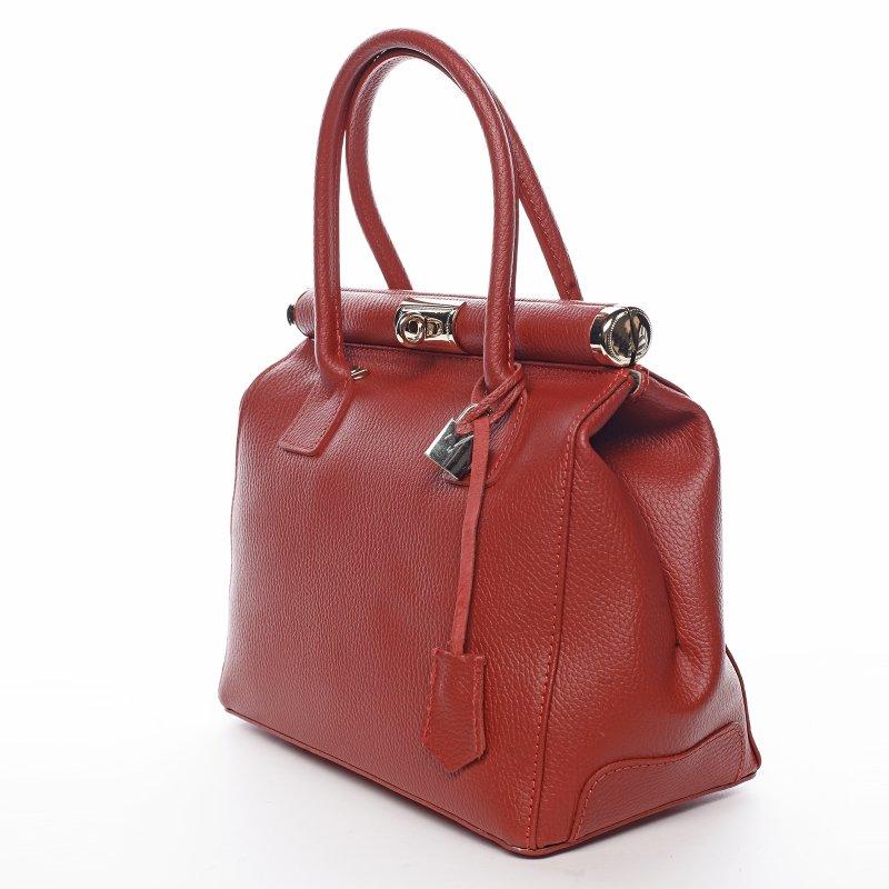 Nepřehlédnutelná kožená dámská kabelka Achille červená