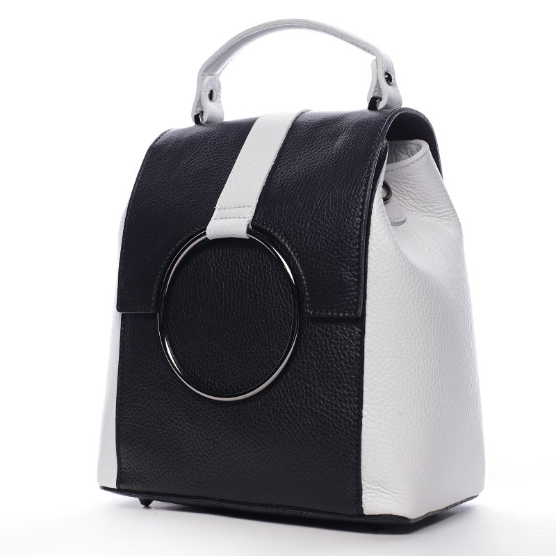 Módní městský dámský kožený batůžek Aglaé černá/bílá