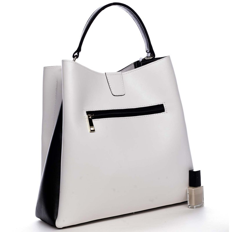 Luxusní kabelka do ruky JACQUELINE, bílo-černá