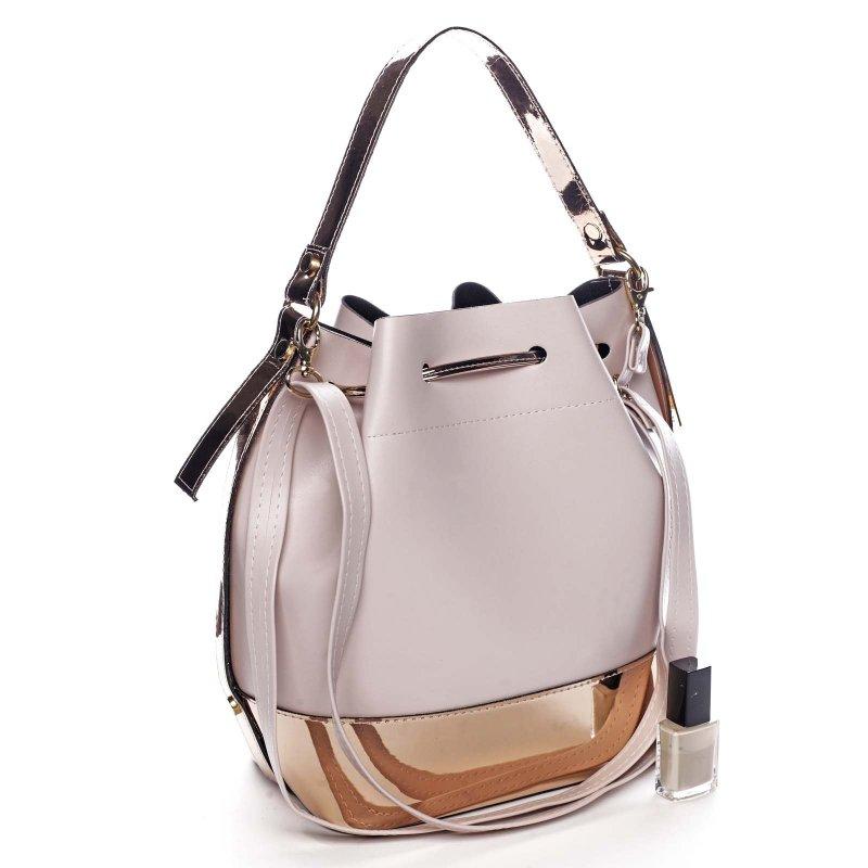 Stylová kabelka přes rameno s utahovací smyčkou FLORENCE, světle růžová+zlatá šampaň