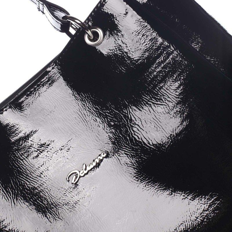 Lakovaná černá kabelka přes rameno CLAIRE