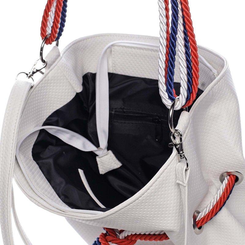 Trendová kabelka s barevným  uzlíkem MARTINE, bílá
