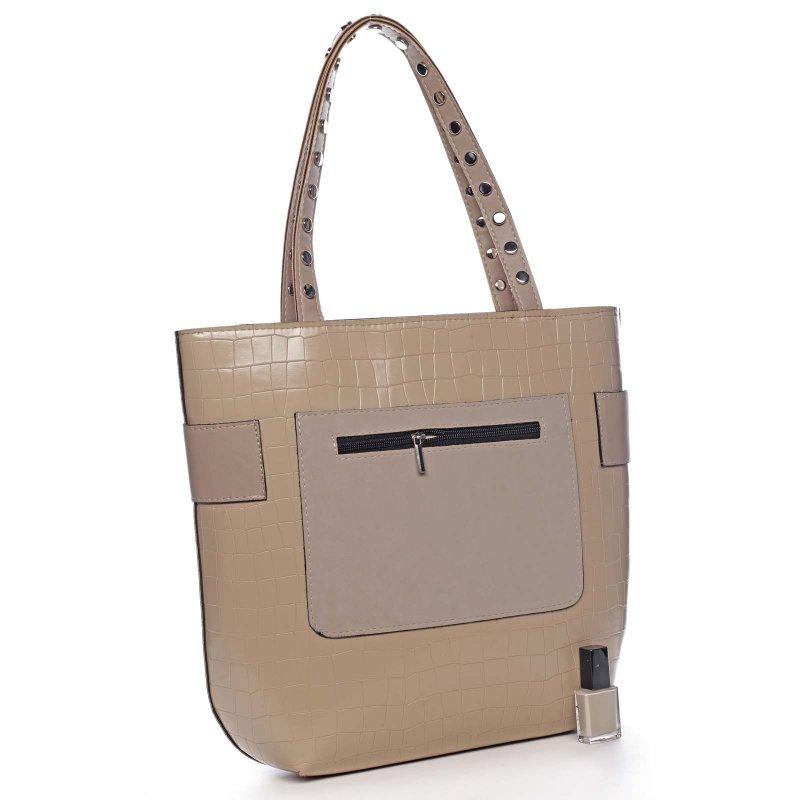 Nadčasová moderní kabelka přes rameno AURELIE, tmavě béžová