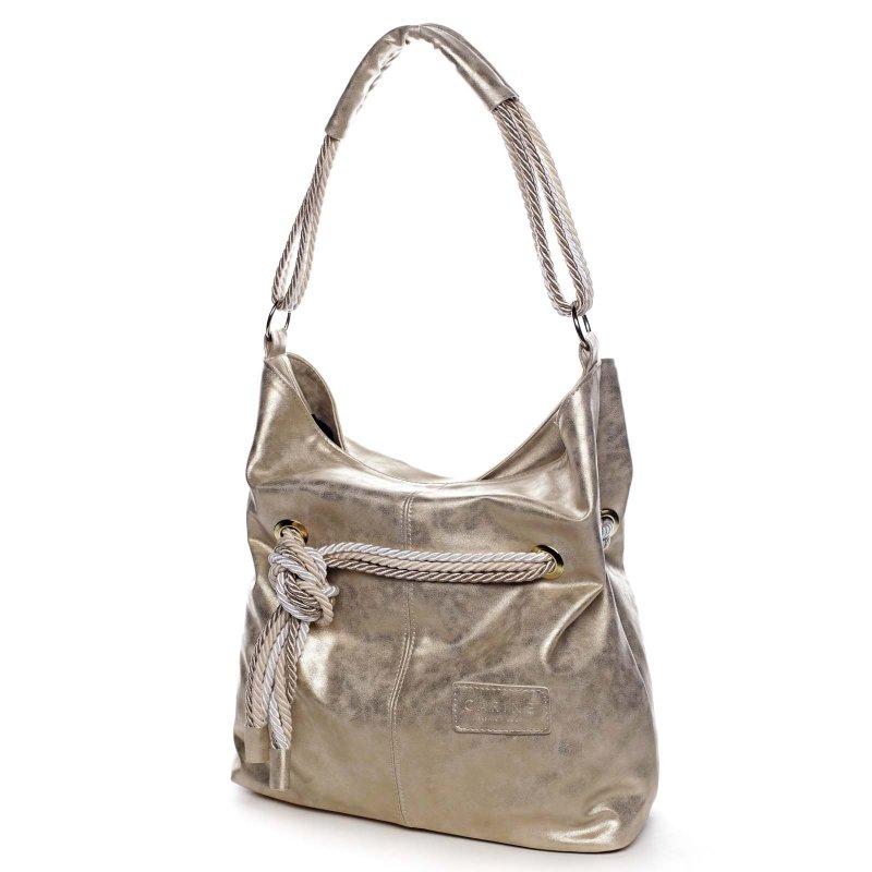 Trendová kabelka s barevným  uzlíkem MARTINE, metalicky zlatá