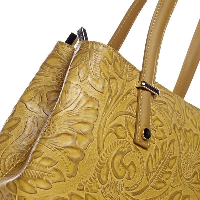 Moderní kožená kabelka přes rameno CHRISTELLE, hořčicově-žlutá