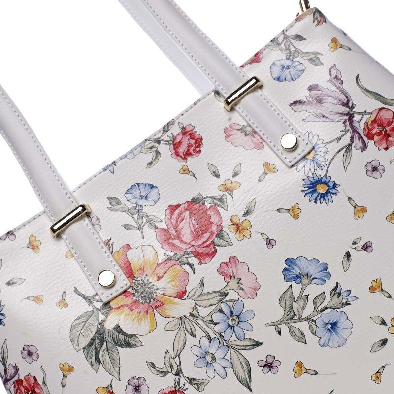 Moderní kožená kabelka přes rameno CHRISTELLE, bílá s květinkami