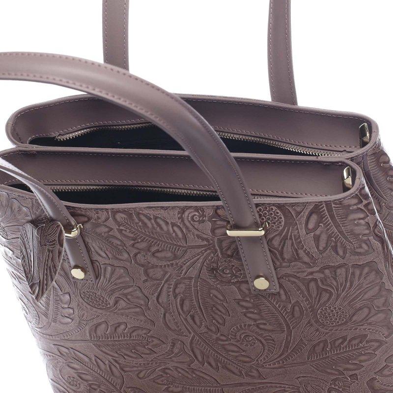Moderní kožená kabelka přes rameno CHRISTELLE, tm.starorůžová