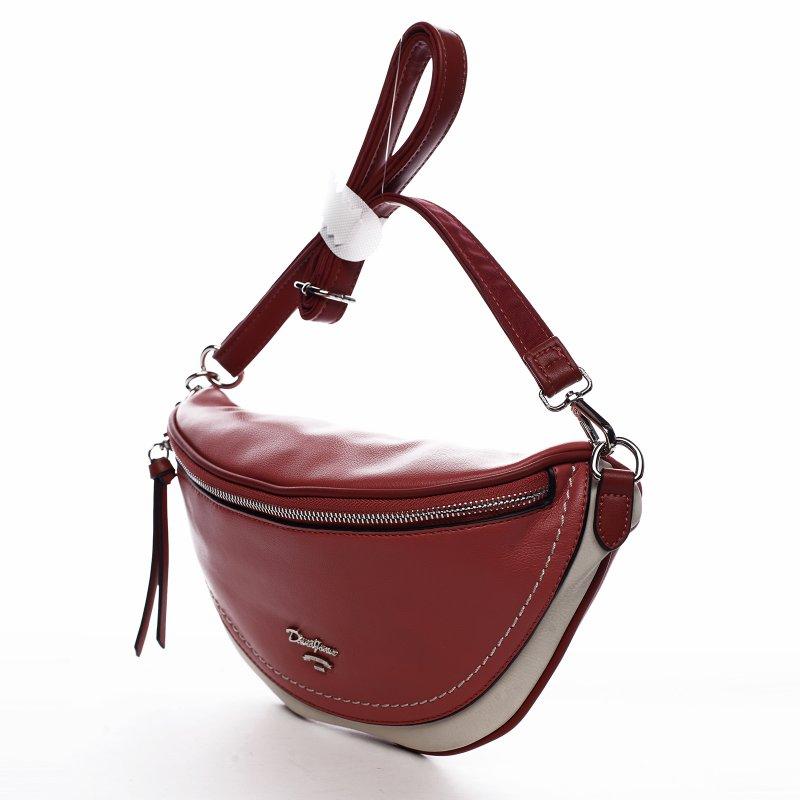 Moderní koženková ledvinka Kara, červeno béžová