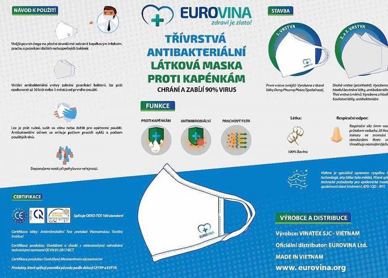Antibakteriální rouška , 3 vrstvá, vel. L, použitelná min. 30 dní