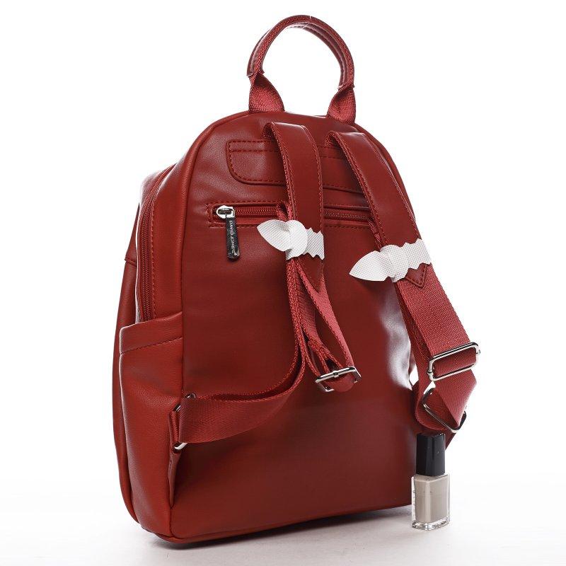 Moderní dámský koženkový batoh Samra, červený