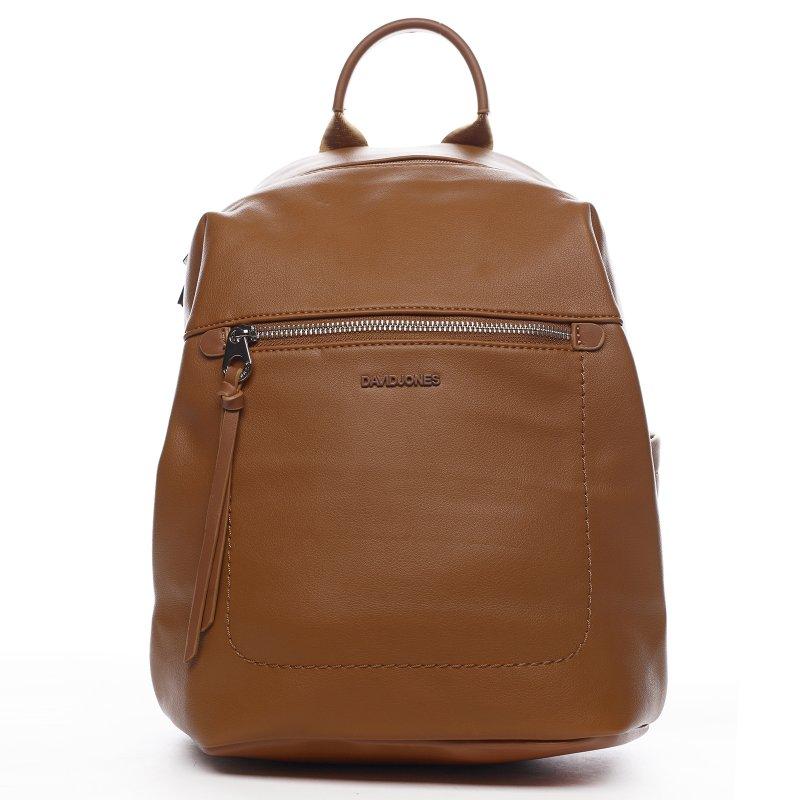 Moderní dámský koženkový batoh Samra, koňakový